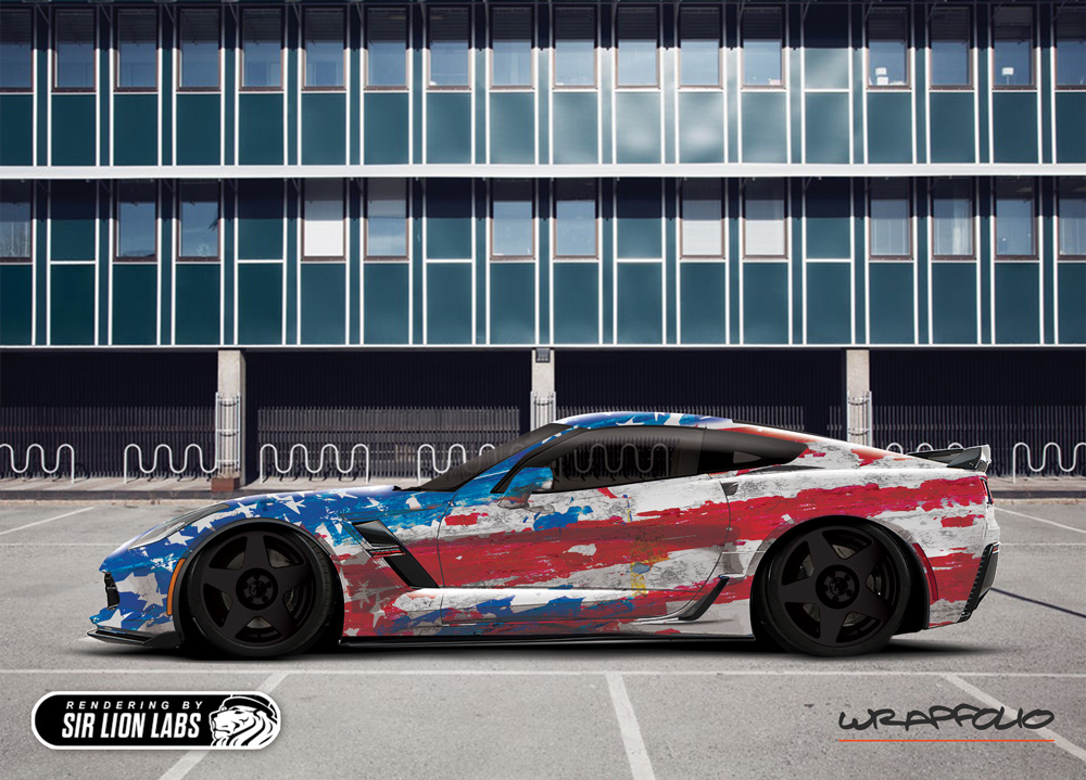 West Coast Corvette >> C7 Corvette American flag wrap design | Sir Lion Labs